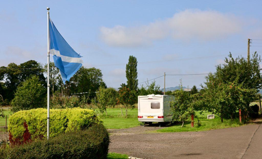 motorhome and scottish flag at fernlea